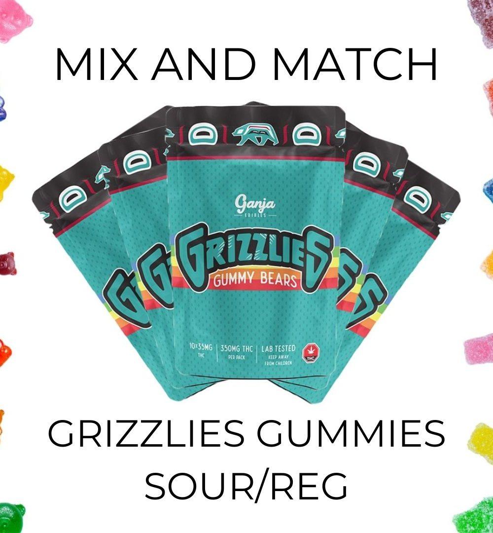 5-Pack Ganja Grizzlies Gummy 350mg THC - Mix and Match